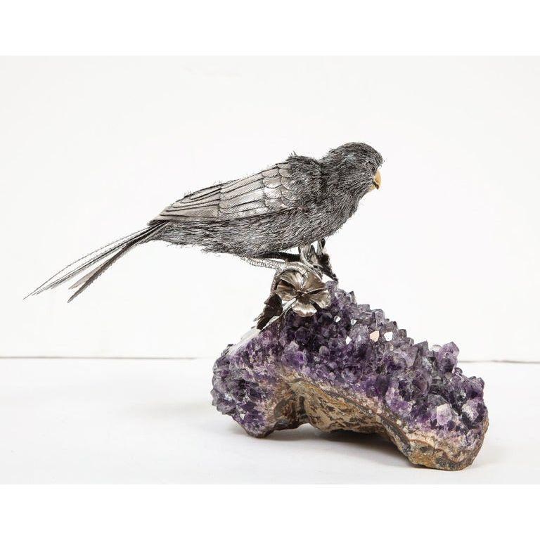 Mario Buccellati, an Exceptional Italian Silver Parrot on Amethyst For Sale 5