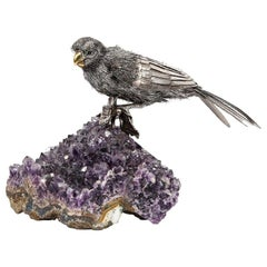 Mario Buccellati, an Exceptional Italian Silver Parrot on Amethyst