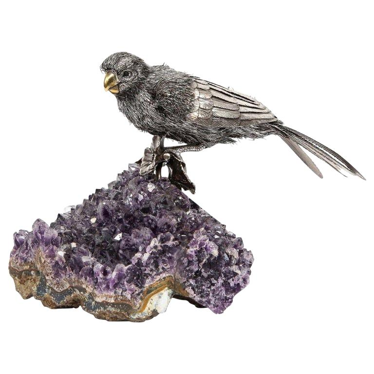 Mario Buccellati, an Exceptional Italian Silver Parrot on Amethyst For Sale