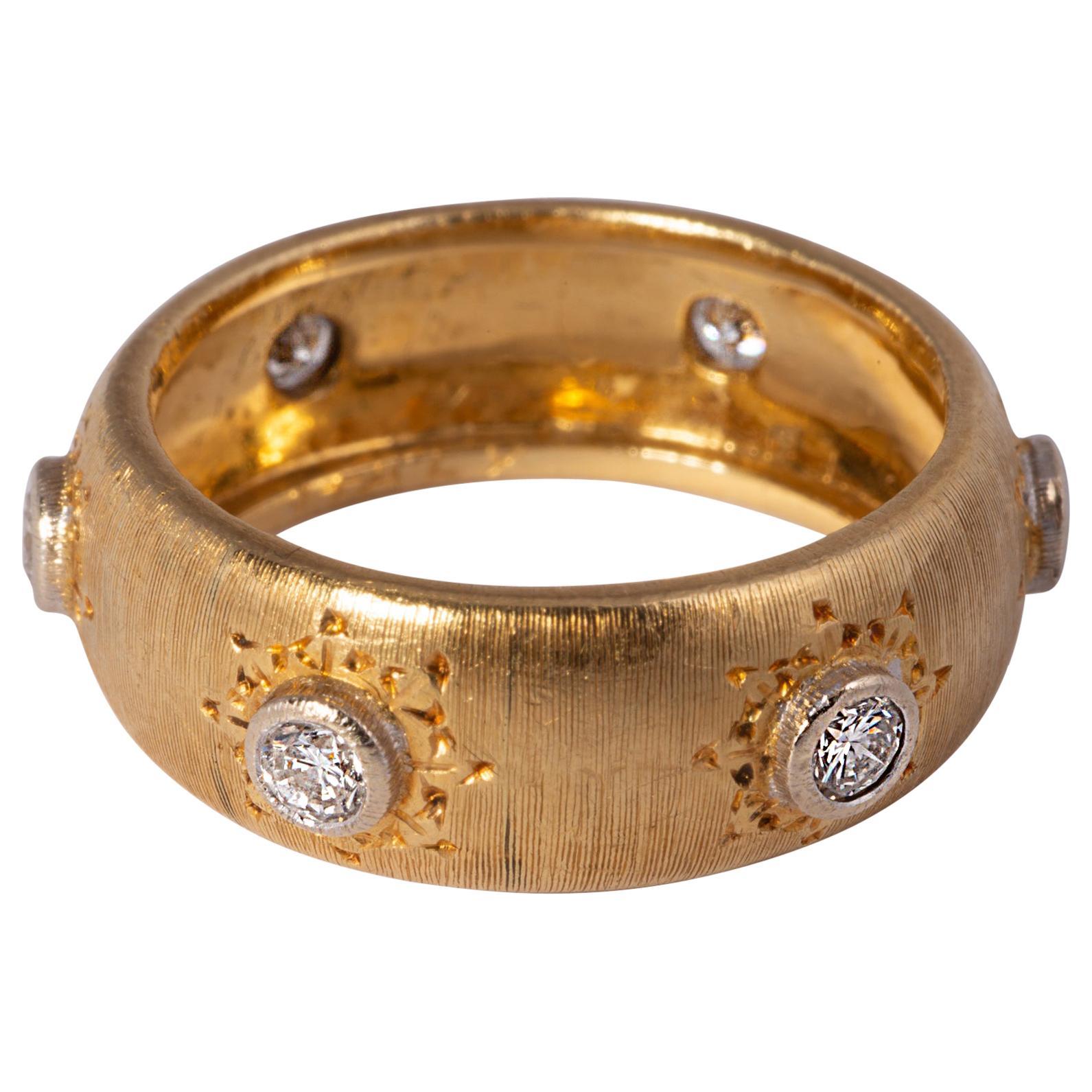 Mario Buccellati Band with Diamonds 18 Karat Yellow Gold
