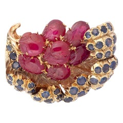 Mario Buccellati Cabochon Ruby Sapphire Gold Brooch