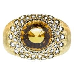 Mario Buccellati Citrine Diamond 18 Karat Florentine Gold Bangle Cuff Bracelet