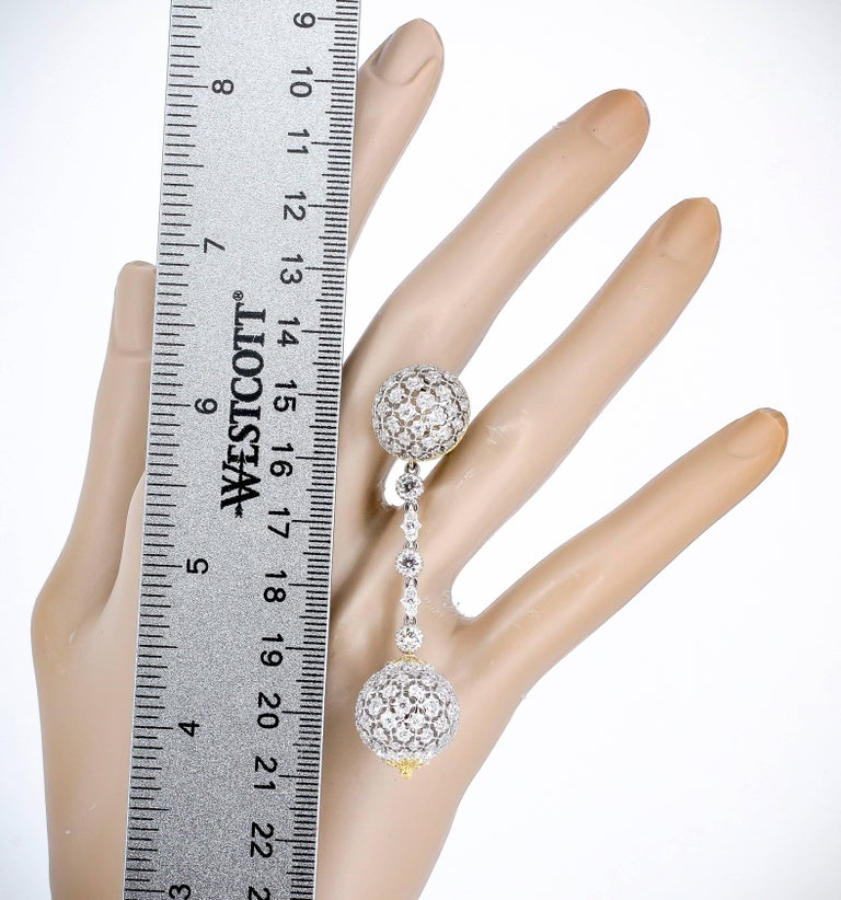 Mario Buccellati Diamond and Yellow Gold Earring Pendants For Sale 1