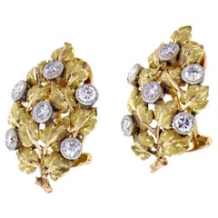 Mario Buccellati Diamond Leaf Earrings