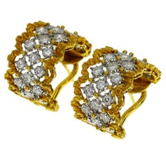 Mario Buccellati Diamonds 18 Karat Yellow White Gold Ronbi Hoop Earrings