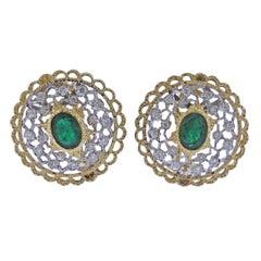 Mario Buccellati Emerald Diamond Gold Earrings