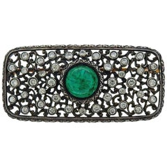 Mario Buccellati Emerald Diamond Gold Silver Brooch