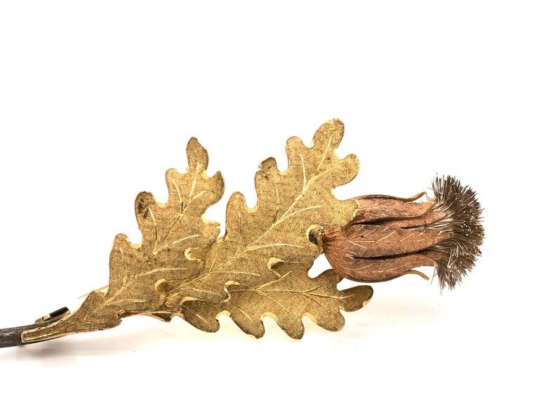 Modern Mario Buccellati Floral Brooch 18 Karat Gold Thistle Design For Sale