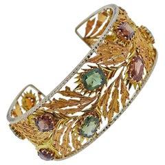 Mario Buccellati Gold Gem Set Cuff Bracelet