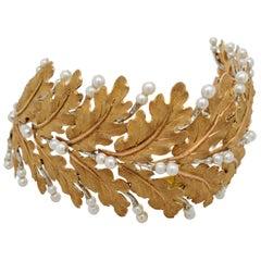 Mario Buccellati Gold Leaf and Pearl Bracelet