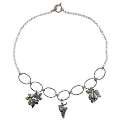 Mario Buccellati Grape Leaf Silver Pendant Necklace