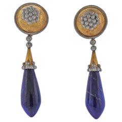 Mario Buccellati Lapis Gold Drop Earrings