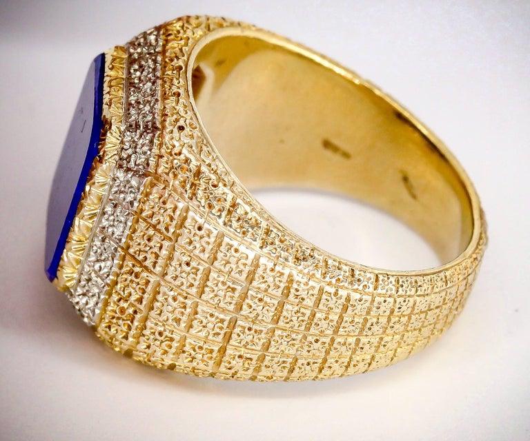 Men's Mario Buccellati Lapis Lazuli and Gold Men's Ring For Sale