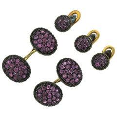 Mario Buccellati Pink Sapphire Gold Cufflinks Studs Set
