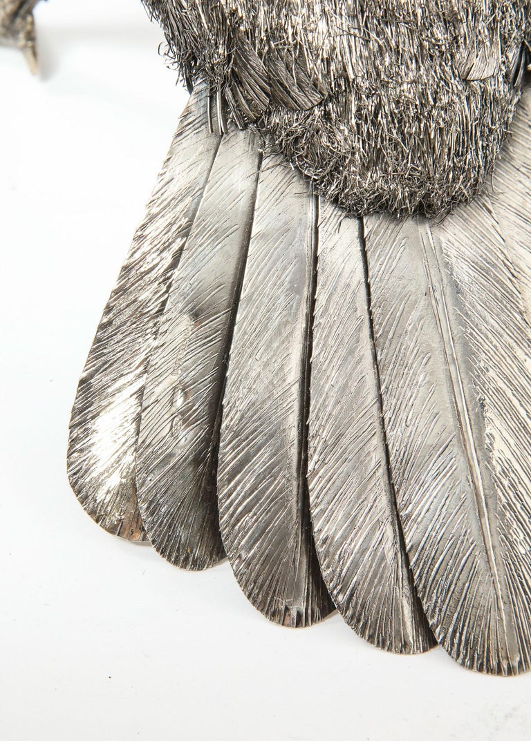 Mario Buccellati, Rare and Exceptional Italian Silver Furry Standing Duck For Sale 10