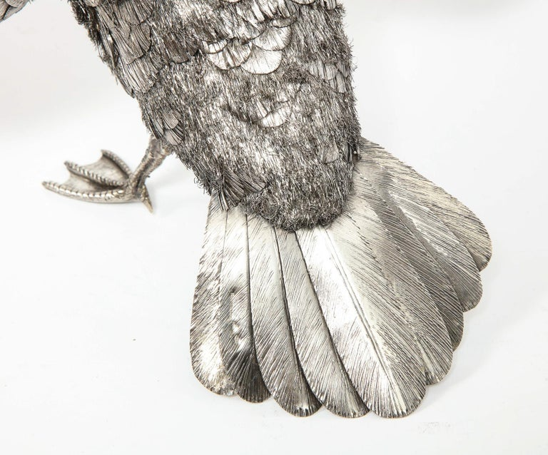 Mario Buccellati, Rare and Exceptional Italian Silver Furry Standing Duck For Sale 3