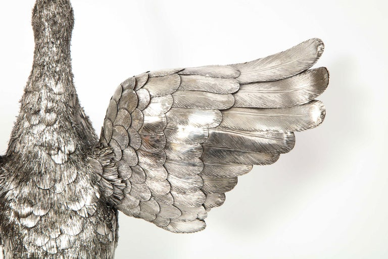 Mario Buccellati, Rare and Exceptional Italian Silver Furry Standing Duck For Sale 4