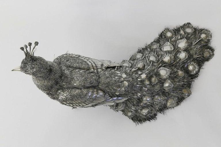Mario Buccellati, Rare and Exceptional Italian Silver Walking Peacock For Sale 6