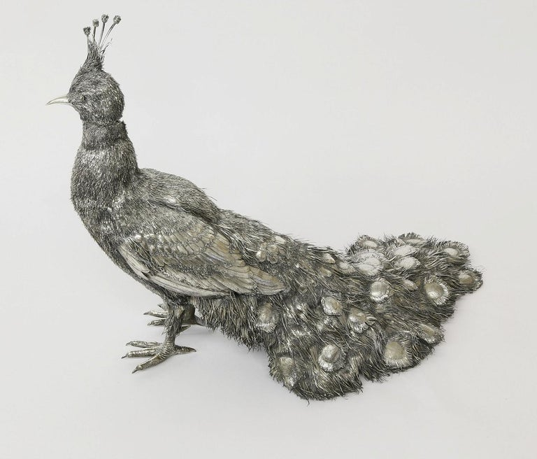 Mario Buccellati, Rare and Exceptional Italian Silver Walking Peacock In Good Condition For Sale In New York, NY