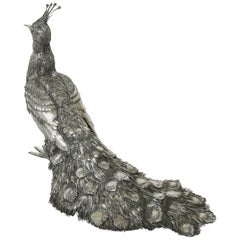 Mario Buccellati, Rare and Exceptional Italian Silver Walking Peacock