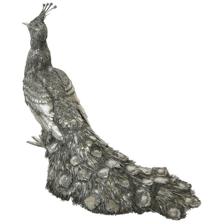 Mario Buccellati, Rare and Exceptional Italian Silver Walking Peacock For Sale