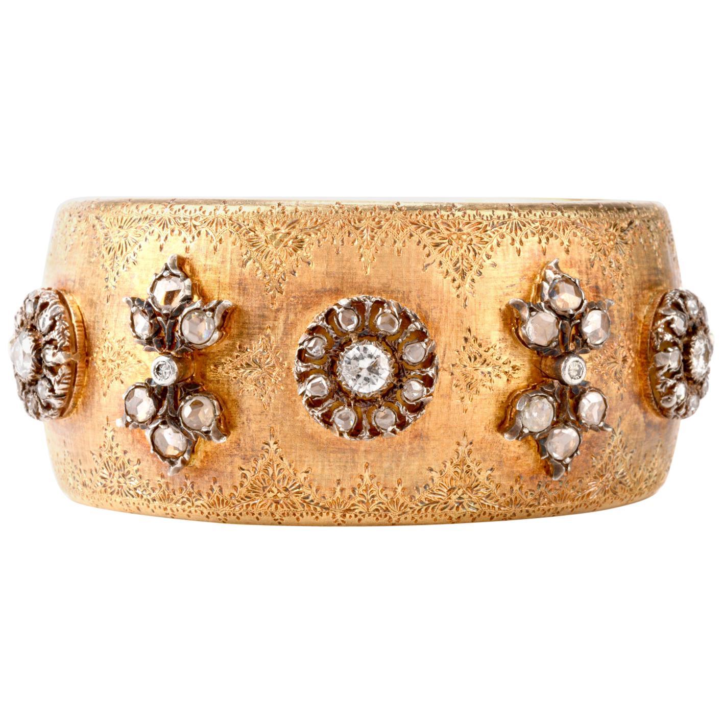 Mario Buccellati Rose Cut Diamond Wide Cuff Bangle 8 Karat Gold Bracelet