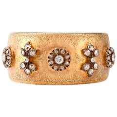 Mario Buccellati Rose Cut Diamond Wide Cuff Bangle 8 Karat Gold Bracelet