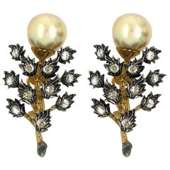 Mario Buccellati Silver and Gold Rose Cut Diamond with Cultured Pearl Earrings