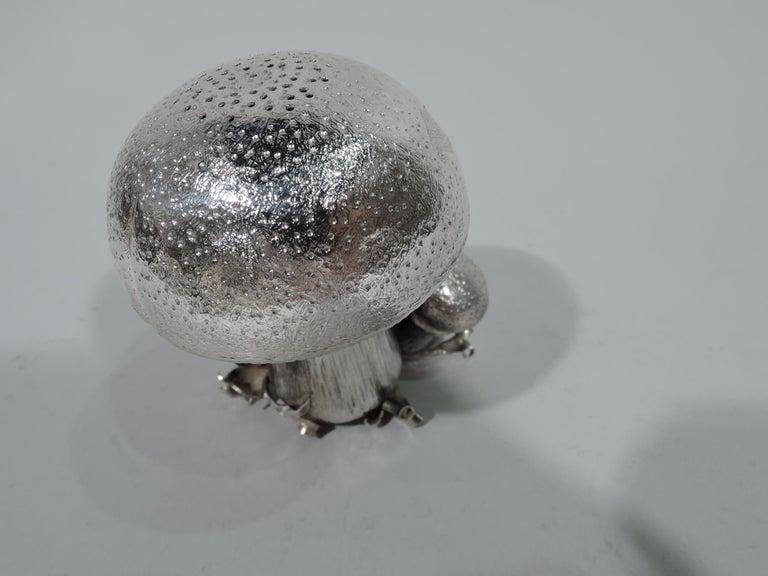 Italian Mario Buccellati Sterling Silver Mushroom Salt and Pepper Shakers For Sale
