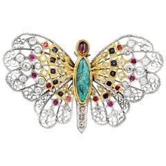 Mario Buccellati Turquoise Ruby, Sapphire and Diamond Butterfly Pin