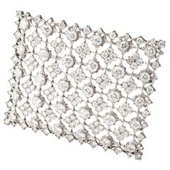 Mario Buccellati Vintage Diamond Window of Snowflakes Platinum Brooch