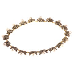 Mario Buccellati Vintage Gold and Silver Pearl Necklace with Grape Leaf Motive