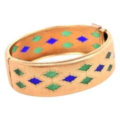 Mario Buccellati Vintage Plique-à-jour 18 Karat Yellow Gold Bangle Bracelet