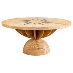 Mario Ceroli La Rosa Dei Venti Wooden Table by Poltronova, 1973