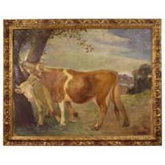 Mario Gachet 20th Century Oil on Canvas Italian Landscape with Cows Painting