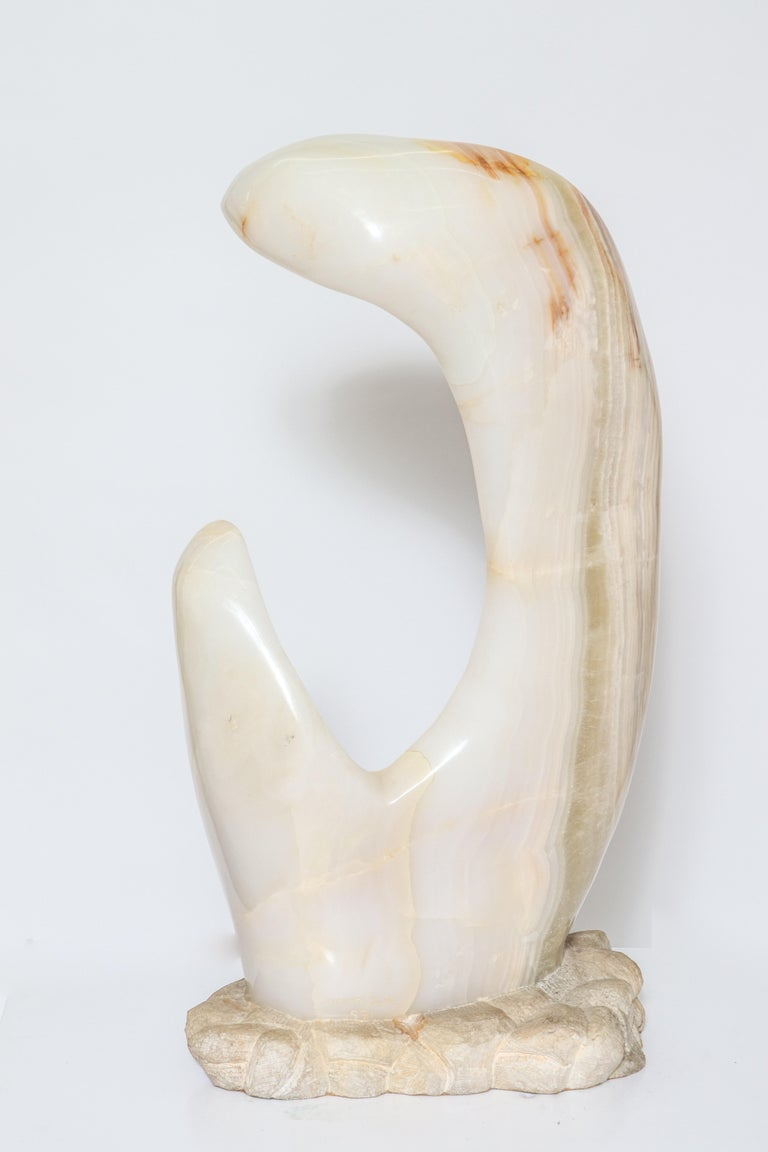 Late 20th Century Mario Guti Mid-Century Modern Carved Onyx Biomorphic Sculpture For Sale