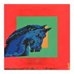 """""""Good Omen"""" Red, Green, Yellow Colorfield Contemporary Pop Art Horse Painting"""