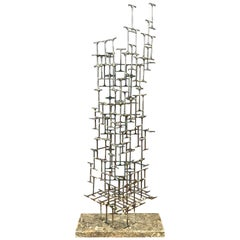 Mario Jason Towering Brutalist Abstract Sculpture, Signed and Dated