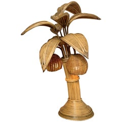 Mario Lopez Torres Att Rattan Palm Tree Table Lamp