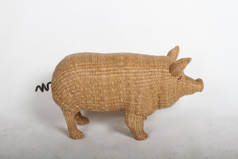 Mario Lopez Torres Large Wicker Pig Sculpture Signed, 1974 For Sale 4