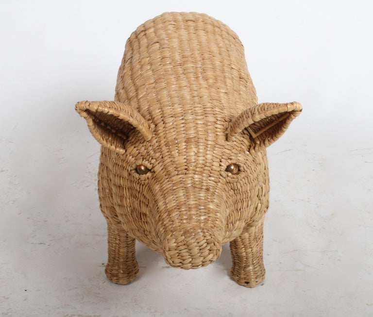 Mario Lopez Torres Large Wicker Pig Sculpture Signed, 1974 For Sale 5