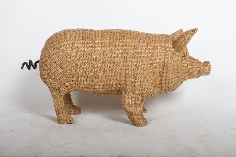 Mario Lopez Torres Large Wicker Pig Sculpture Signed, 1974 For Sale 6
