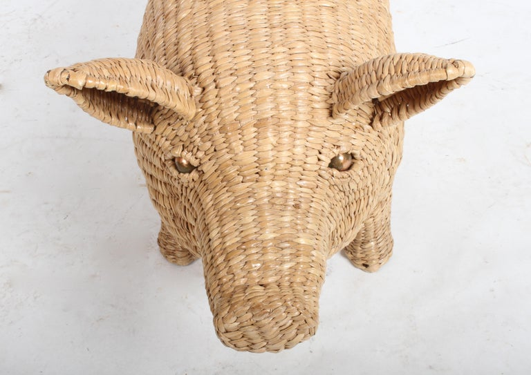 Mario Lopez Torres Large Wicker Pig Sculpture Signed, 1974 For Sale 8