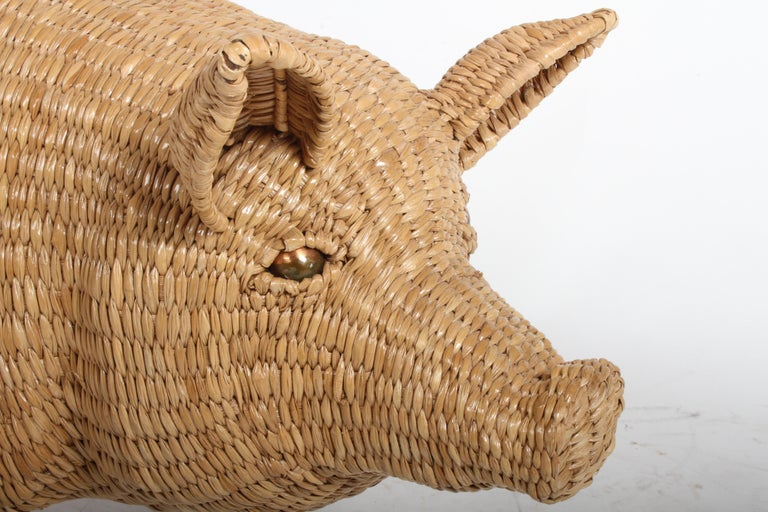 Mario Lopez Torres Large Wicker Pig Sculpture Signed, 1974 For Sale 9
