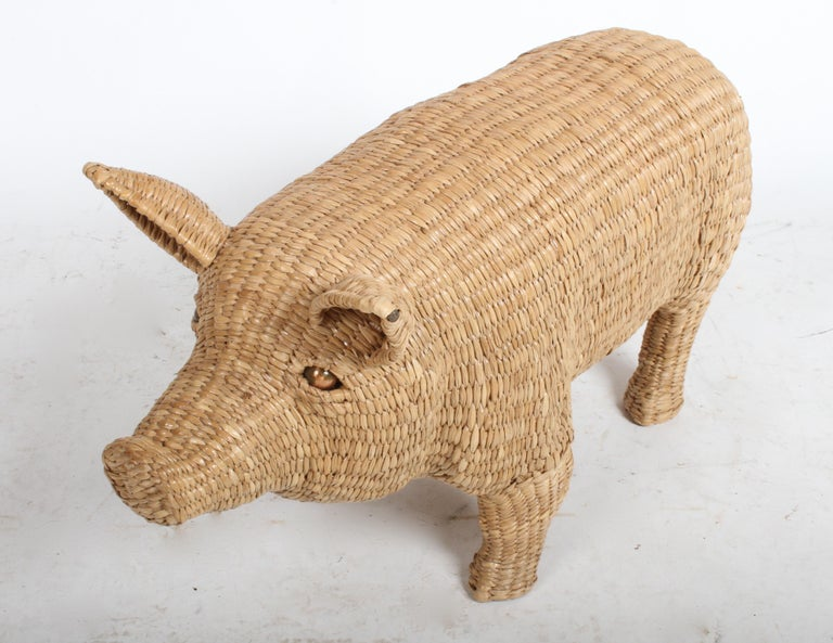 Mario Lopez Torres Large Wicker Pig Sculpture Signed, 1974 For Sale 11