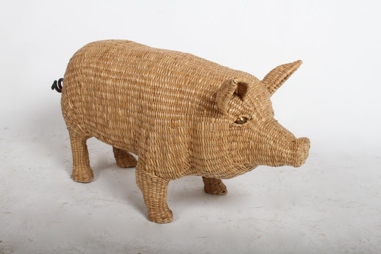 Mid-Century Modern Mario Lopez Torres Large Wicker Pig Sculpture Signed, 1974 For Sale