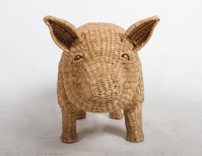 Mexican Mario Lopez Torres Large Wicker Pig Sculpture Signed, 1974 For Sale