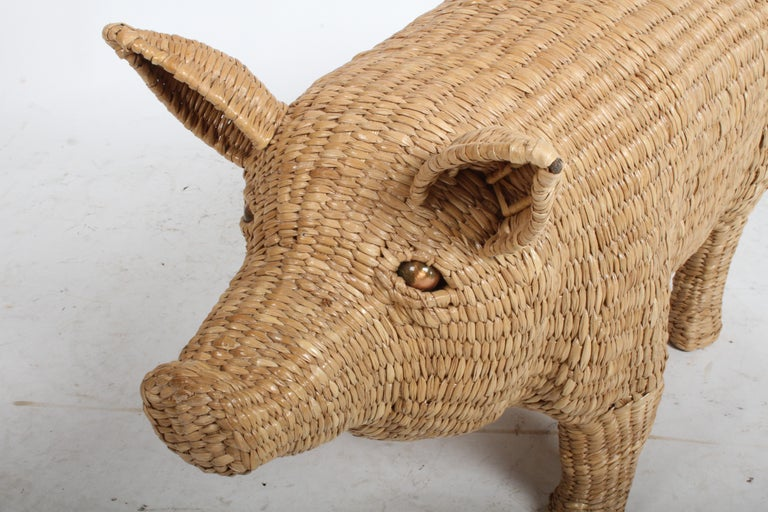 Mario Lopez Torres Large Wicker Pig Sculpture Signed, 1974 In Excellent Condition For Sale In St. Louis, MO