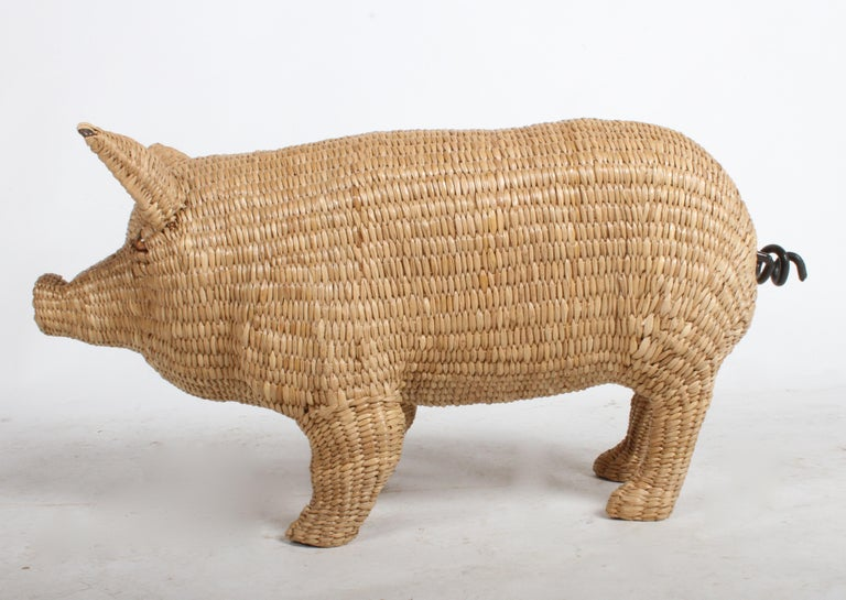 Late 20th Century Mario Lopez Torres Large Wicker Pig Sculpture Signed, 1974 For Sale