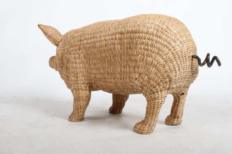 Mario Lopez Torres Large Wicker Pig Sculpture Signed, 1974 For Sale 1